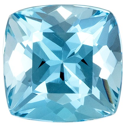 A Wonderful Find!  Blue Aqua Genuine Gemstone, 1.03 carats, Cushion Shape, 6.1 mm