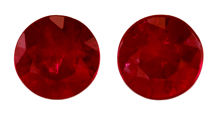 Low Price Round Cut Loose Ruby Gemstones, 0.57 carats, 4 mm Matching Pair, Super Lovely Gem