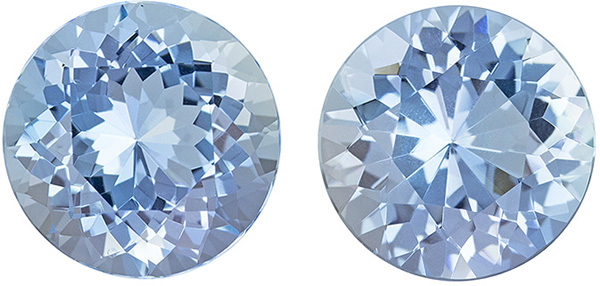 Impressive Gems in Super Fine Aquamarine Pair, 10.5 mm, Round Cut, 7.5 carats
