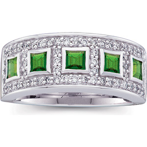 Impressive Grand .78ct 3mm Emerald & Diamond Gold Band - Square Emeralds with 65 White Diamonds