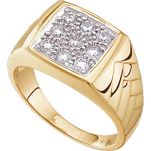 Impressive Heavy Gold and Fabulous 0.65 ct Gents 2.70 mm Diamond Ring set in 14 karat Yellow Gold