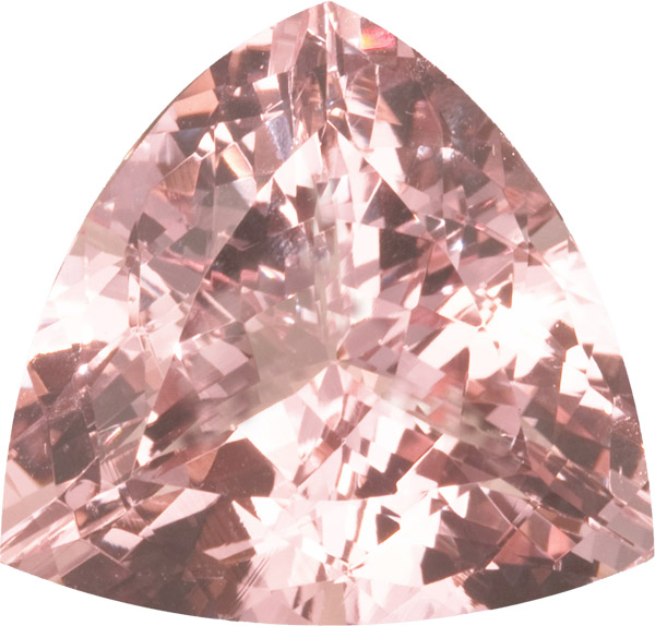 Impressive Huge GEM Morganite Loose Gem in German Trillion Cut, Rich Peachy Pink Color in 23.0 mm, 37.05 carats