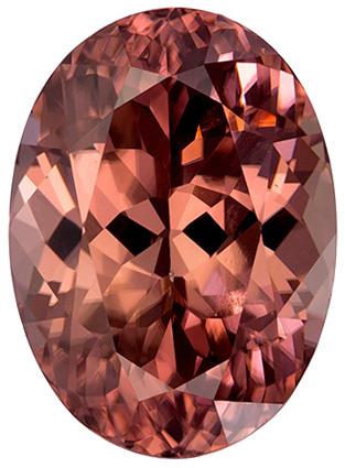 Impressive Oval Cut Brown Zircon Loose Gem, Rose Brown, 10.9 x 7.9 mm, 5.05 carats