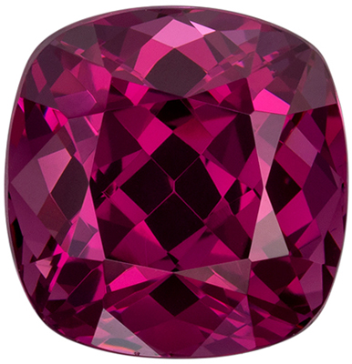 Impressive Rhodolite Genuine Gemstone, Cushion Cut, Vivid Raspberry Pink, 11.5 x 11.2 mm, 9.12 carats