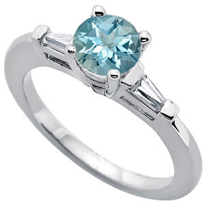 Impressive Round Deep Fine Blue 1 carat 6.5mm Aquamarine Gemstone Engagement Ring With Diamond Baguette Side Gems