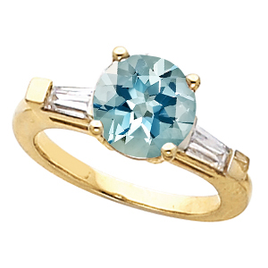 Impressive Round Deep Low Price on Blue 1 carat 6.5mm Aquamarine Gemstone Engagement Ring With Diamond Baguette Side Gems