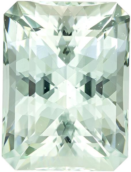 Impressive Seafoam Colored Beryl Gemstone in Radiant Cut in Light Seafoam Bluish Green, 19 x 14.1 mm, 19.13 carats