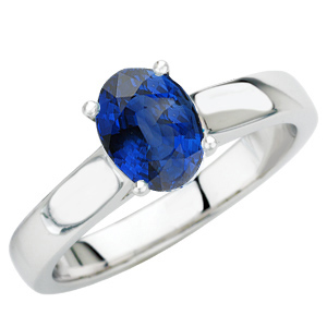 Impressive Super GEM Quality 8x6mm Royal Blue Sapphire Solitaire Gold Ring for SALE