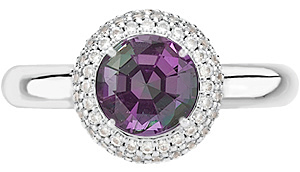 Impressive Vivid Color Change GEM Natural 1 carat 5.80 mm Alexandrite set in 14 kt White Diamond Pave Ring