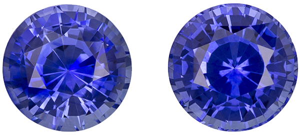 In Demand Sapphire Well Matched Pair in Round Cut, Rich Blue, 6 mm, 2.22 carats