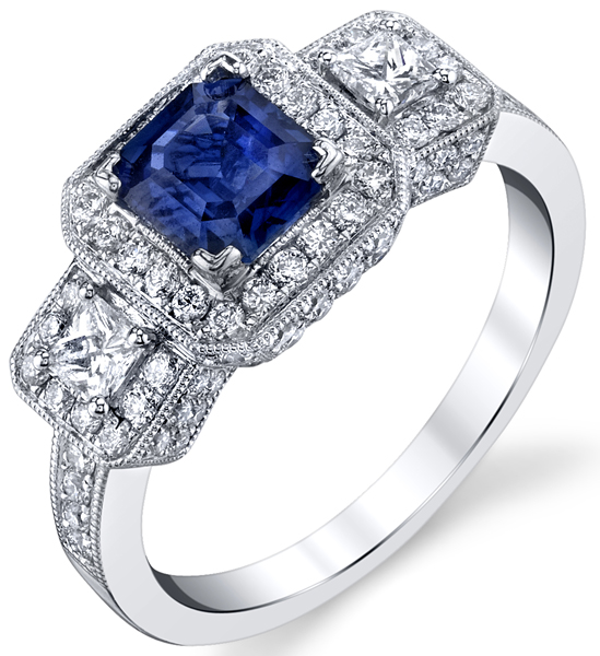 Incredible 1.04ct Princess Cut Blue Sapphire Halo Ring With Princess Diamond Sidegems - 18kt White Gold