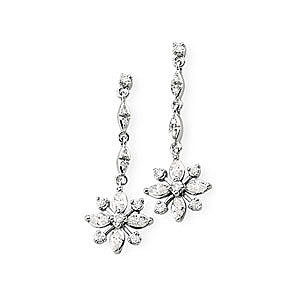 Incredible 1/2 ct Flower Style Diamond Dangly Earrings in 14k White Gold - SOLD