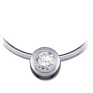 Incredible 1/4 ct 4mm Diamond Solitaire Slider Pendant in 14k White Gold for SALE - FREE Chain