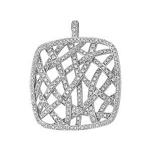 Incredible 1.5ct Square Shaped Diamond Pendant With Interwoven Diamond Studded Patterns - FREE Chain - SOLD