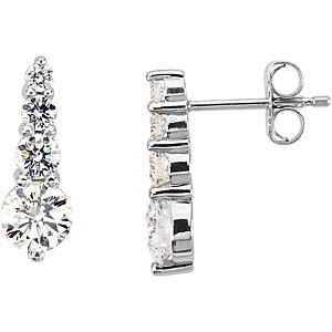 Incredible 1 carat Diamond Journey Earrings With Cascading Diamonds Set in Platinum