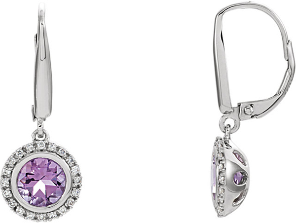 Incredible 14k White Gold Leverback 6mm 1.48 ct Round Amethyst Halo Earrings - 1/6ct Diamond Accents