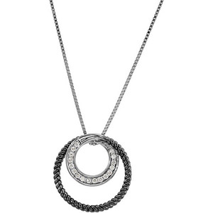 Incredible ..17ct Circle Looping Necklace With Channel Set Diamonds and Twisted Black Rhodium Plated Accents - FREE Chain Included