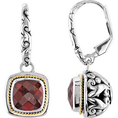 Incredible 2 Tone Sterling Silver & 18K Yellow Gold Filigree Earrings With 5ct 10mm Antique Square Cut Brazilian Garnet Gems - SOLD