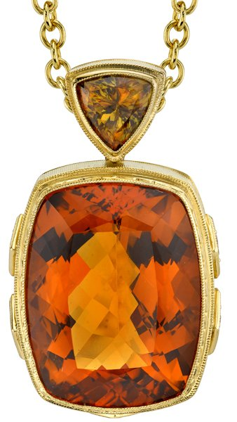 Incredible 35.93ct Cushion Palmeira Citrine 18kt Yellow Gold Gem - Brown Diamond & Triangle Sphene Accents