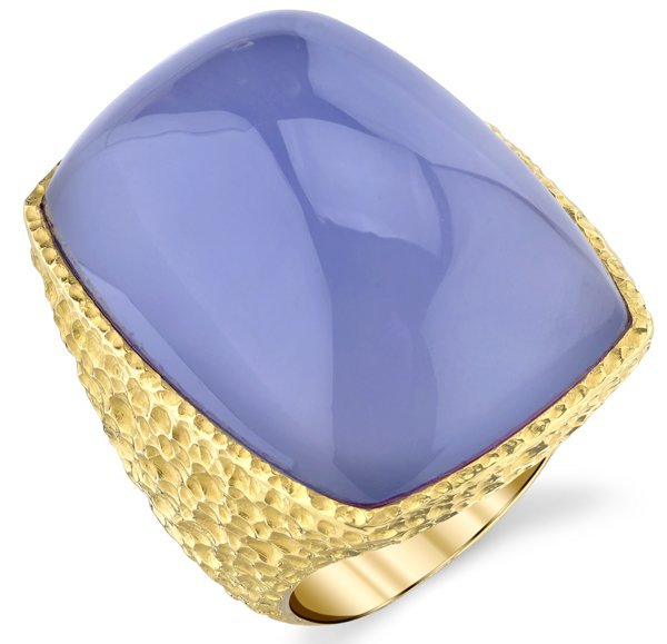 Incredible 54.19ct Huge Cushion Chalcedony Gemstone Ring - Hammered 18kt Yellow Gold
