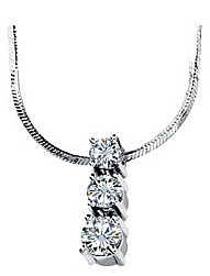 Incredible .75ct 3.5-4mm 3 Stone Slide Pendant With Round Moissanite Gems Set in 14k White Gold - FREE Chain Included With Pendant