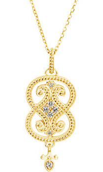 Incredible Beaded Style 14k Yellow Gold Pendant With .12ct Diamond Accents - Unique Curved Design - FREE Chain Included With Pendant