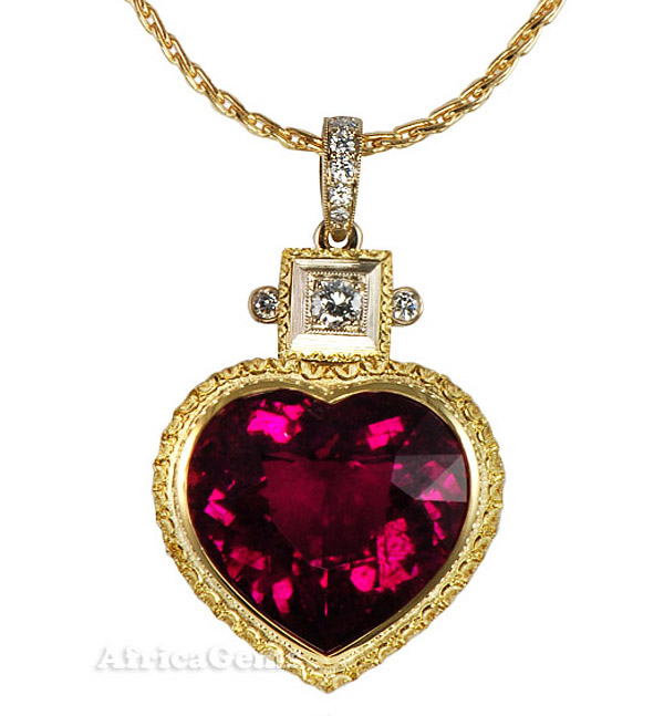 Incredible Custom Hot Pink Tourmaline Heart Necklace by Jewelry Designer Yuri  - SOLD