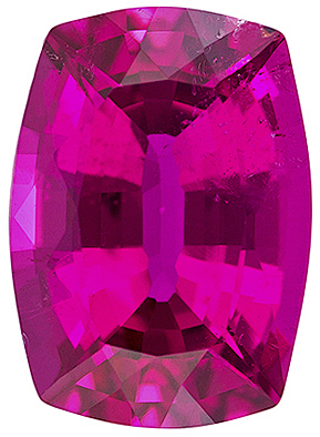 Incredible Fuchsia Tourmaline Gem in Cushion Cut, Vivid Rich Fuchsia Color, 8 x 5.8 mm, 1.44 carats