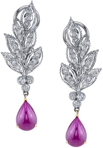 Incredible Hand Crafted Super Drama 0.78ctw Diamond Accented Pear Cabochon Ruby Dangle Earrings - 18kt White Gold