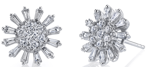 Incredible Handmade Diamond Starburst Cluster Earrings in 18kt White Gold - 1.59ctw Diamonds