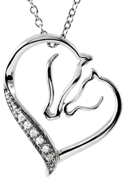 Incredible Horse Love Pendant With Two Horse Profiles in a Heart Shape - .03 ct tw Diamond Accents - FREE Chain