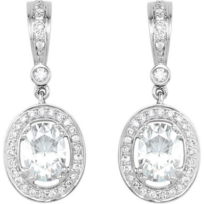 Incredible Oval Moissanite Gemstones Are Framed by Diamonds and Dangle From A Stunning 14k White Gold Diamond Studded Post Back Mounting - SOLD