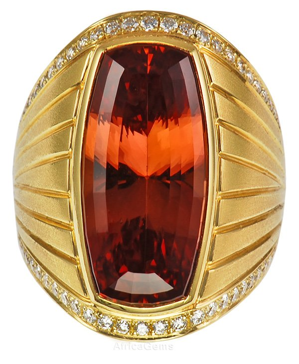 Incredible Rich Imperial Topaz Bezel Set Ring with Pave Diamonds - SOLD