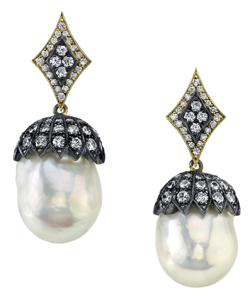Incredible South Sea Pearl Dangle Earrings With Diamond Accents in 18kt Yellow Gold & Silver
