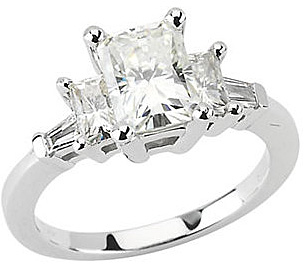 Incredible2.17ct  5-Stone 14k White Gold Engagement Ring - 3 8x6mm Emerald Cut Moissanites & Diamond Baguettes