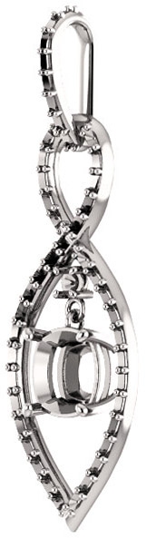 Infiniti Articulated Dangle Pendant Mounting for Cushion Shape Centergem Sized 5.00 mm to 7.00 mm - Customize Metal, Accents or Gem Type