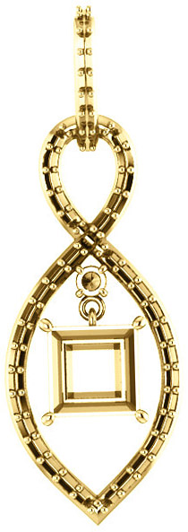 Infiniti Articulated Dangle Pendant Mounting for Square Shape Centergem Sized 4.00 mm to 7.00 mm - Customize Metal, Accents or Gem Type