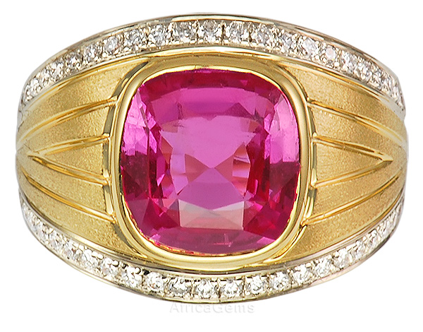 Intense 5 ct Pink Sapphire Bezel set Custom Gemstone Ring with Pave Diamonds - SOLD