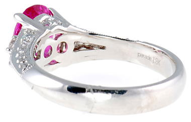 Intense and Vivid 2ct 8x6mm Pink Sapphire and Pave Diamond ring in 18 kt white gold for SALE
