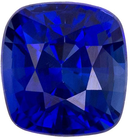 Intense Blue Gorgeous Sapphire Loose Stone in Cushion Cut, Intense Blue Color in 5.3 x 4.9 mm, 0.88 carats