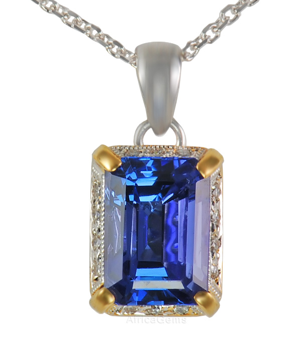 Intense Colored Super 2.31ct Gem 8x6mm Tanzanite Gemstone set in Diamond Pave Pendant in 2 tone 18 kt gold