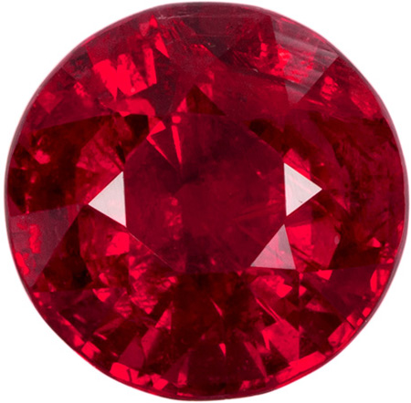 Intense Fiery Genuine Ruby Loose Gem in Round Cut, Vibrant Intense Red Color in 5.7 mm, 1.11 carats