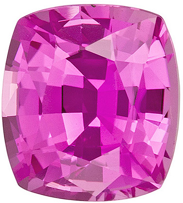 Intense Pure Pink Sapphire from Ceylon in Cushion Cut, 6.7 x 6.0 mm, 1.41 carats