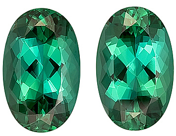 Intense Saturation, Lovely Blue/Green Tourmaline Genine Gems Matched Pair, Oval Cut, 13.7 x 8.6 mm, 10.6 carats