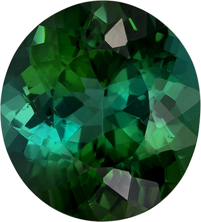Intense Tealish Green Tourmaline Gem in Oval Cut, 11.7 x 10.6 mm, 5.18 carats