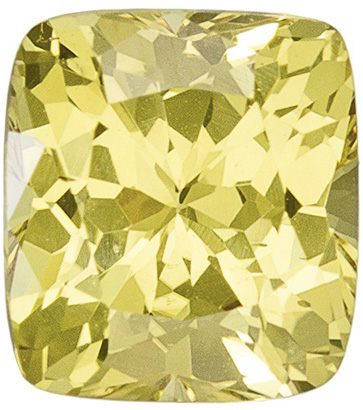 Intense Unheated Sapphire Loose Gemstone in Cushion Cut, Lemony Yellow, 5.3 x 4.8 mm, 0.82 carats