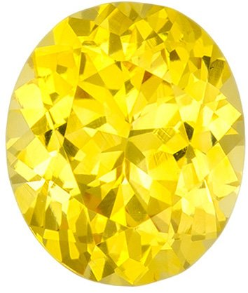 Intense Vivid Yellow Oval Sapphire Gemstone for Sale, Intense Color in 7.2 x 6.1 mm, 1.37 carats