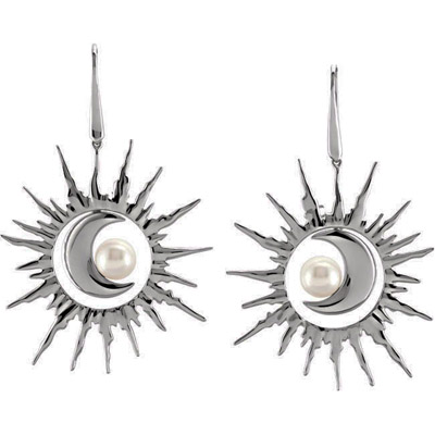 Interchangeable Sun and Moon 8.5-9mmFreshwater Pearl Earrings in Sterling Silver for SALE - SOLD