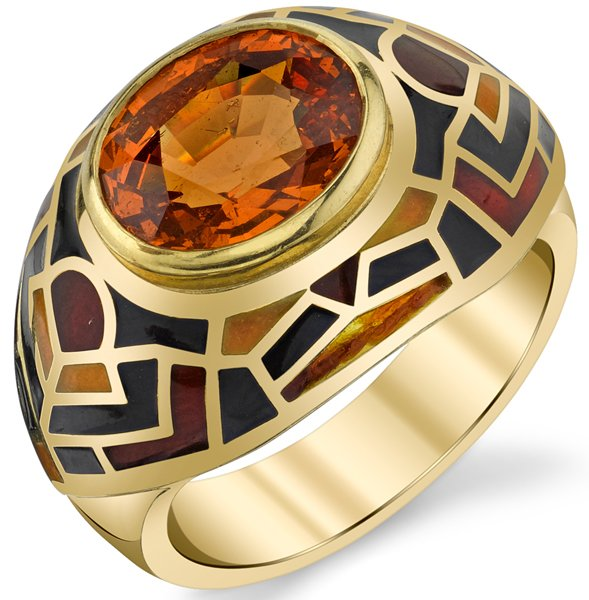 Interesting 10x8mm Oval Spessartite Garnet Handmade Ring - Unique Colorful Detailing