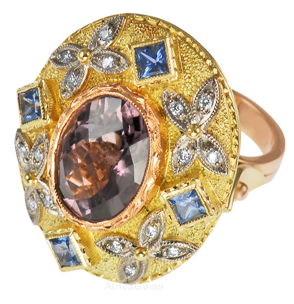 Interesting Tourmaline Bezel Set in Rose Gold with Blue Sapphire Accents & Diamond Butterflies in Unique Gold Ring - SOLD